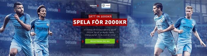 Betsafe oddsbonus 2017 på 100% upp till 1000 kr