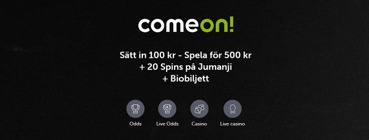 ComeOn oddsbonus upp till 400 kr