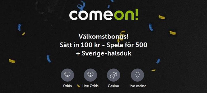 ComeOn oddsbonus på 400% upp till 400 kr